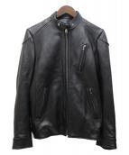 BUFFALO BOBS(バッファローボブズ)の古着「PHANTOMシープレザーシングルジャケット」|ブラック
