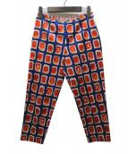 CHANEL(シャネル)の古着「総柄7分丈パンツ」|ブルー×オレンジ