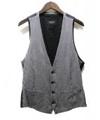 BURBERRY BLACK LABEL(バーバリーブラックレーベル)の古着「ヒッコリーストライプ切替ジレ」|ホワイト×ネイビー
