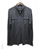 BURBERRY BLACK LABEL(バーバリーブラックレーベル)の古着「コットンジップニットカーディガン」|グレー