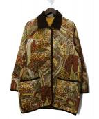 Salvatore Ferragamo(サルヴァトーレフェラガモ)の古着「ヴィンテージ総柄キルティングジャケット」|イエロー×ブラウン