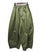 HARVESTY(ハーベスティー)の古着「20SSコットンチノクロスサーカスパンツ」|オリーブ