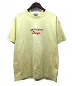 C.E(シーイー)の古着「オーバーダイウォッシュ加工刺繍Tシャツ」|イエロー