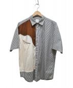 MISTER GENTLE MAN(ミスタージェントルマン)の古着「切替半袖ストライプシャツ」 ホワイト×ブラック