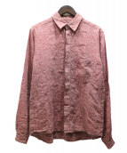 FRANK LEDER(フランクリーダ)の古着「リネン比翼シャツ」|ワインレッド