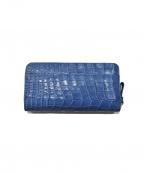 RODANIA(ロダニア)の古着「クロコダイルレザーラウンドジップ長財布」|ブルー