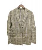 ESTNATION(エストネーション)の古着「18SS リネン混チェックジャケット」 ブラウン×イエロー