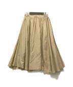 ROPE(ロペ)の古着「綿シルクギャザーフレアスカート」|ベージュ