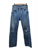LEVIS VINTAGE CLOTHING(リーバイス ヴィンテージ クロージング)の古着「501XXリペア加工シンチバックデニムパンツ」|ブルー