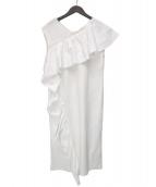 LE CIEL BLEU(ルシェルブルー)の古着「タフタラッフルドレス」|ホワイト