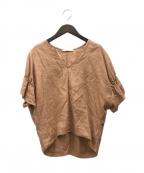 SOULEIADO(ソレイアード)の古着「リネンギャザースリーブプルオーバー」|オレンジ