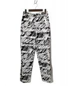 ISSEY MIYAKE(イッセイミヤケ)の古着「サイドジップ総柄パンツ」|ホワイト×ブラック