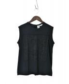 TAO COMME des GARCONS(タオ コムデギャルソン)の古着「刺繍ノースリーブブラウス」|ブラック