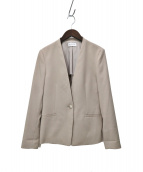 PLST(プラステ)の古着「20SSポリエステルオックスカラーレスジャケット」 ベージュ