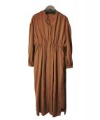 FRAY ID(フレイアイディー)の古着「ロングシャーリングワンピース」 ブラウン