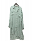 BEACHGOLD(ビーチゴールド)の古着「ストライプロングシャツワンピース」|グリーン