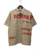 BURBERRY LONDON(バーバリーロンドン)の古着「ショートスリーブホースフェリープリントシャツ」|ベージュ