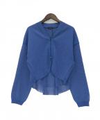 Gabardine K.T(ギャバシンケーティー)の古着「ニットショートブルゾン」 ブルー