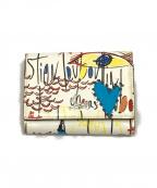 Christian Louboutin(クリスチャン・ルブタン)の古着「ブドワールミニウォレット」 ホワイト×レッド