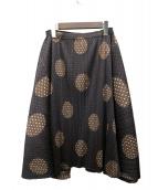 PLEATS PLEASE(プリーツプリーズ)の古着「ドット柄フレアスカート」|ブラウン