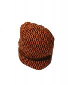 HERMES(エルメス)の古着「H織柄カシミアニット帽」|ブラウン