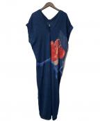 45R()の古着「天竺リネン藍染アロハワンピース」|ネイビー