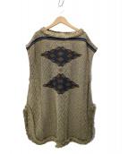 45R(フォーティファイブアール)の古着「リネンコットンジャガードフリンジベスト」|ベージュ×ネイビー
