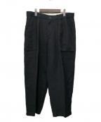 The Stylist Japan(ザスタイリストジャパン)の古着「LINEN WIDE BAKER PANTS」|ブラック