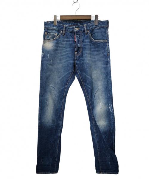 DSQUARED2(ディースクエアード)DSQUARED2 (ディースクエアード) ダメージ加工デニムパンツ インディゴ サイズ:46 S74LA0406 イタリア製の古着・服飾アイテム