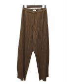 PLEATS PLEASE(プリーツプリーズ)の古着「プリーツワイドパンツ」|ブラウン