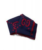 GUCCI(グッチ)の古着「GGジャガードウールシルクスカーフ」|ネイビー×レッド