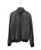 ARMANI JEANS(アルマーニジーンズ)の古着「レザーシングルライダースジャケット」|ブラウン