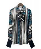 GIVENCHY(ジバンシィ)の古着「総柄シルクブラウス」|ブルー×ブラック