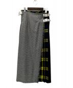 O'NEIL OF DUBLIN × UNITED ARROWS(オニール オブ ダブリン × ユナイテッドアローズ)の古着「マキシチェックキルトスカート」|グレー×イエロー