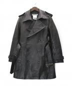 KATHARINE HAMNETT(キャサリンハムネット)の古着「カウスキンコート」 ブラック