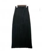 ISSEY MIYAKE WHITE LABEL(イッセイミヤケホワイトレーベル)の古着「プリーツロングスカート」 ブラック
