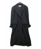 NINA RICCI(ニナリッチ)の古着「ダブルブレストカシミヤロングコート」|ブラック