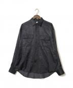 ALLEGE(アレッジ)の古着「rayon open collar shirt」 ネイビー