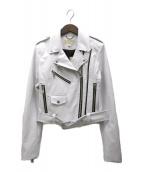 MICHAEL MICHAEL KORS(マイケル マイケルコース)の古着「フォーレザー ライダースジャケット」|ホワイト