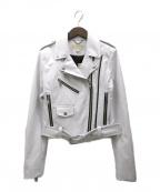 MICHAEL MICHAEL KORS(マイケル マイケルコース)の古着「フォーレザー ライダースジャケット」 ホワイト