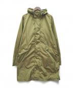 Cruciani(クルチアーニ)の古着「ウォッシュドナイロンベンチコート」|オリーブ