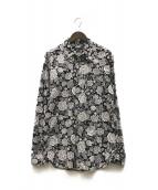 ()の古着「総柄シャツ」 ホワイト×ブラック
