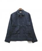 GAIJIN MADE()の古着「チェックジップシャツジャケット」|ネイビー