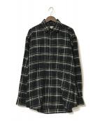 ()の古着「ネルチェックビッグシャツ」|ブラック