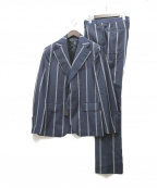 GABRIELE PASINI(ガブリアルパジーニ)の古着「ハイツイストウールワイドストライプスーツ」|ネイビー