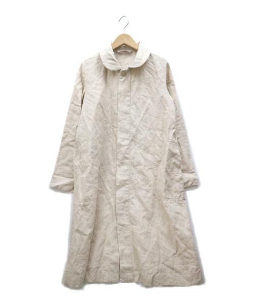 umii 908(ウミ908)umii 908 (ウミ908) ラウンドカラーリネンコート ベージュ サイズ:1 45rpmの古着・服飾アイテム
