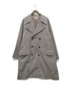 ALLEGE(アレッジ)の古着「Check pea coat」 ブラウン