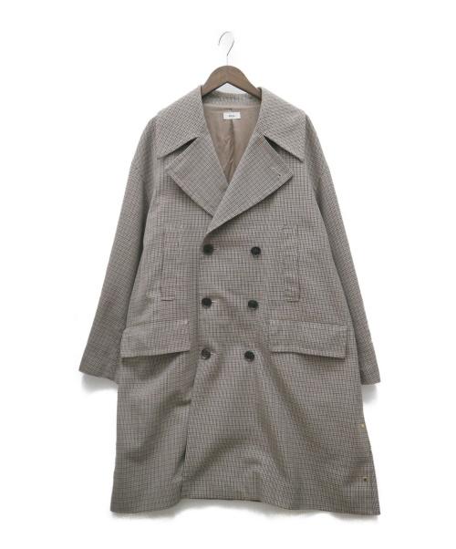 ALLEGE(アレッジ)ALLEGE (アレッジ) Check pea coat ブラウン サイズ:3 AH18W-C002の古着・服飾アイテム