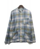 ()の古着「スタンドカラーシャツジャケット」|ブルー×カーキ