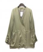 UNGRID(アングリッド)の古着「ヴィンテージサテンノーカラージャケット」 グリーン